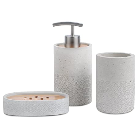 Bathroom Accessories Set Grey Bathroom Soap Dispenser, Beaker, Soap Dish,  SATU BROWN Japanese