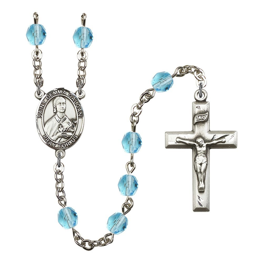 Bonyak Jewelry St. Gemma Galgani Silver-Plated Rosary 6mm March Light Blue Fire Polished Beads Crucifix Size 1 3/8 x 3/4 Medal Charm by Bonyak Jewelry