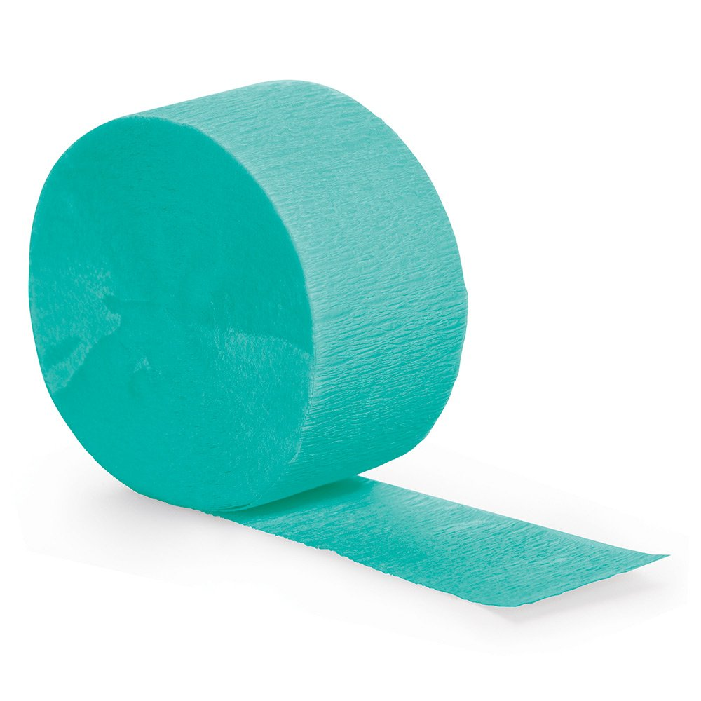 Creative Converting 324777 Touch of Color 12 Count Crepe Paper Streamer Rolls 81' Each Roll, Teal Lagoon