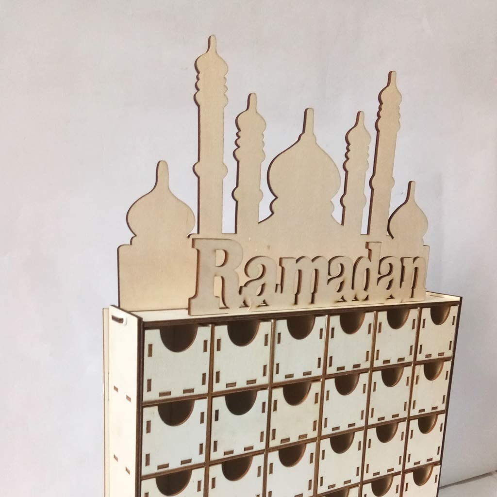 happinter Wooden MDF Drawer Avdent Calendar Countdown to Ramadan Eid Mubarak for Eid Al-Fitr Muslim Party Decoration