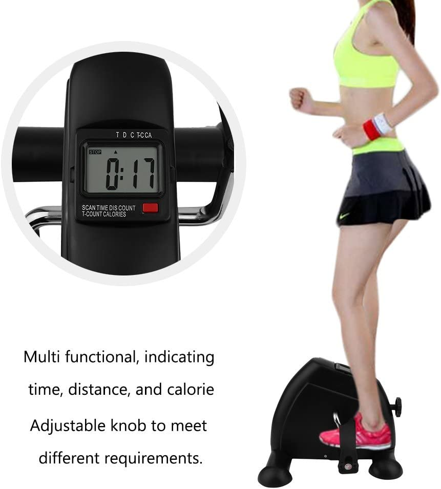 Homgrace Arm and Leg Pedal Exerciser LCD Display, Portable Mini Exercise Bike Fitness Cycling Resistance Adjustable for Under Office Desk