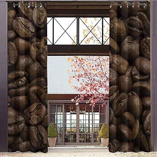 hengshu Coffee Wear-Resistant Color Curtain Flavored Roasted Arabica Beans Ready for Brew Fresh Drink of Mocha for Robust Breakfast 2 Panel Sets W96 x L108 Inch Brown ()