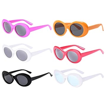 b0e0b5b91bd0 FSMILING 6 Pairs Retro Clout Oval Goggles Mod Thick Frame Round Lens  Sunglasses for Women Men
