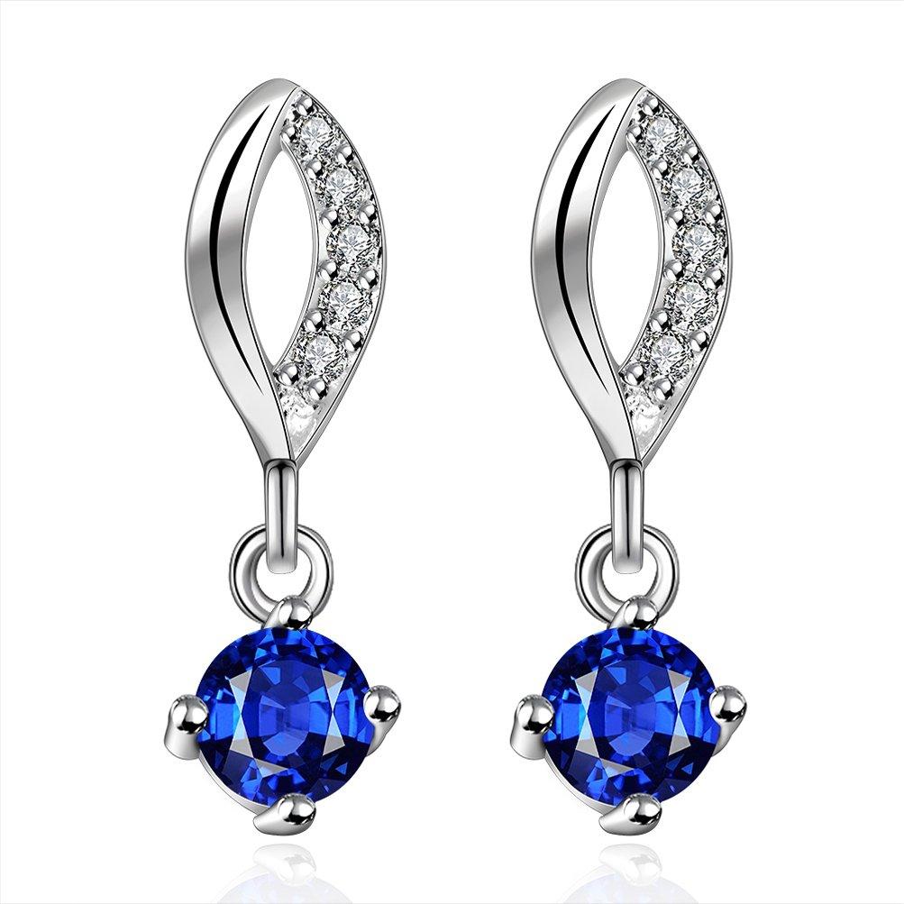 SunIfSnow Women Beautiful Blue Rhinestone Inlaid Lips Drop Earrings