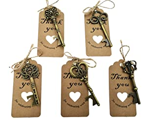 50pcs Skeleton Key Bottle Opener Wedding Party Favor Souvenir Gift with Escort Tag and Jute Rope(Bronze Tone,5 styles)