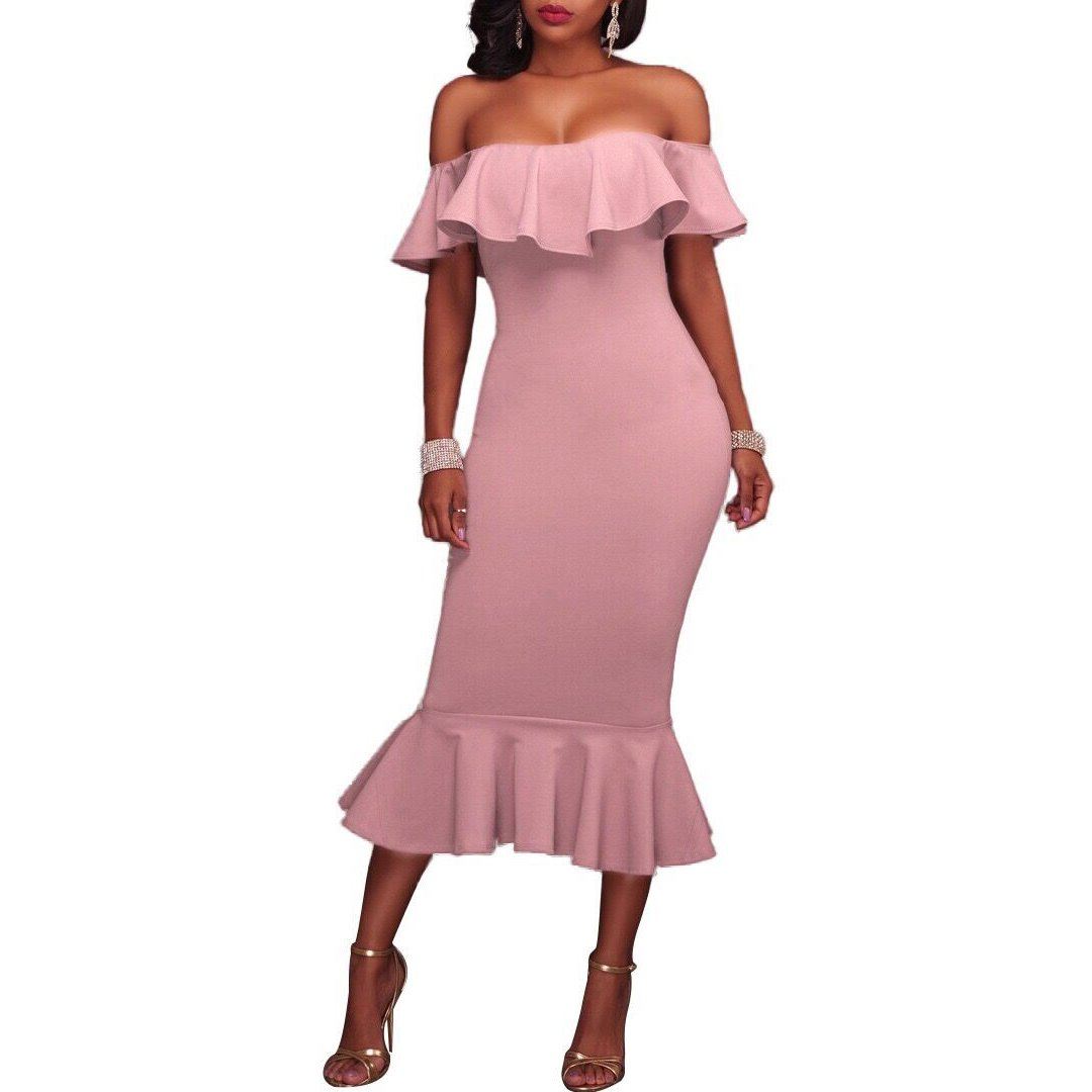 bda44c914382 Synker Women s Off Shoulder Ruffle Bodycon Cocktail Party Mermaid Dress   Amazon.co.uk  Clothing