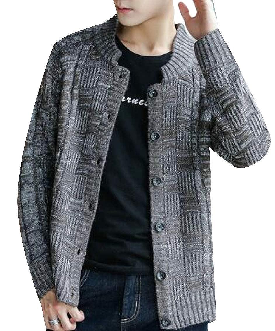 Jaycargogo Mens Button Down Round Collar Knitted Slim Cardigan Sweater