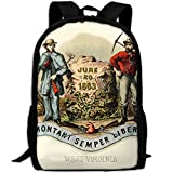ZQBAAD West Virginia State Coat Of Arms Luxury Print Men And Women's Travel Knapsack