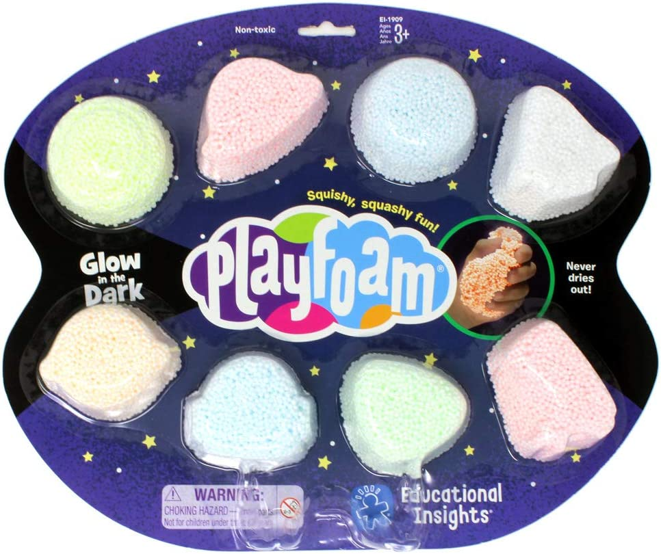 Educational Insights Playfoam Glow in the Dark 8-Pack | Non-Toxic, Never Dries Out | Sensory, Shaping Fun, Arts & Crafts For Kids, Great for Slime | Perfect for Ages 3 and up