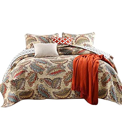 Queen Size Bedspreads On Sale.Luckey1 Cotton Queen Size Quilt Sets Bedspread And Quilt Bedding Sets Queen Size 3 Pieces 1 Quilt 2 Pillowcases Queen Feather Style