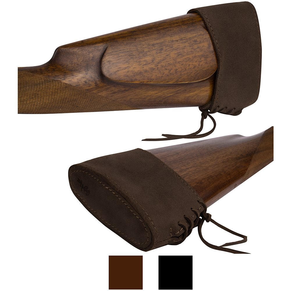 BronzeDog Slip On Recoil Pad Genuine Leather Buttstock Extension for Shotguns Rifles Hunting Shooting Brown Black (Brown) by BRONZEDOG