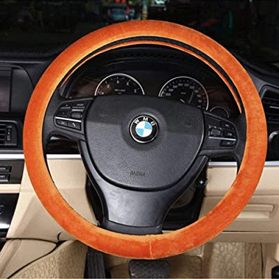 15 inch Wool Car Steering Wheel Cover Universal, Winter Warm Summer Cool, Auto Anti-Slip Protector, Odorless,Brown: Automotive