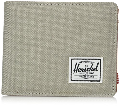 Herschel Supply Co. Men's Hank + Coin Rfid Wallet, Light Khaki Crosshatch/Tan Synethtic Leather RFID, One Size