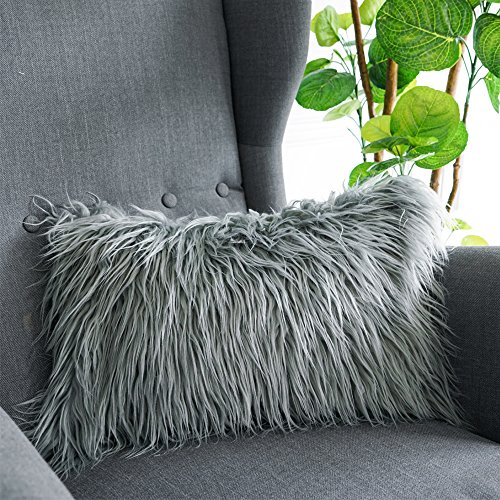 Lananas Luxury Soft Plush Faux Fur Throw Pillow Covers for Couch Decorative Mongolian Fur Throw Pillow Covers, (GREY, 12