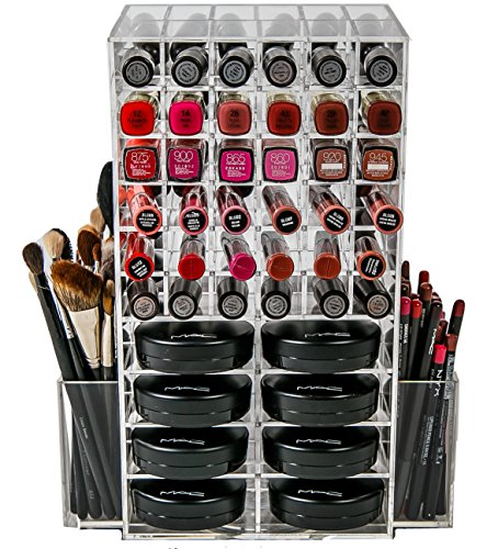 (N2 Makeup Co Spinning Acrylic Makeup Organizer Carousel, Holds 72 Lipstick Holder Slots, Brushes & 16 Powder Compact Cases, Clear Cosmetics Storage Box)