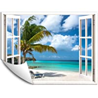 IDEA4WALL Wall Murals for Bedroom Fake Window Beach White Window Removable Wallpaper Peel and Stick Wall Stickers…