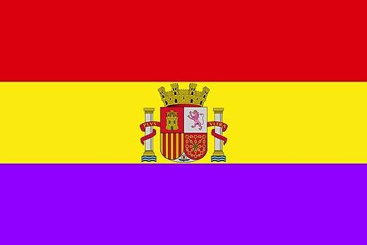 magFlags Bandera Large Versión Moderna de la Bandera Republicana española | Bandera Paisaje | 1.35m² | 90x150cm: Amazon.es: Jardín
