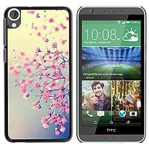 iKiki Tech / Estuche rígido - Pink Floral Yellow Tree Cherry Blossom - HTC Desire 820