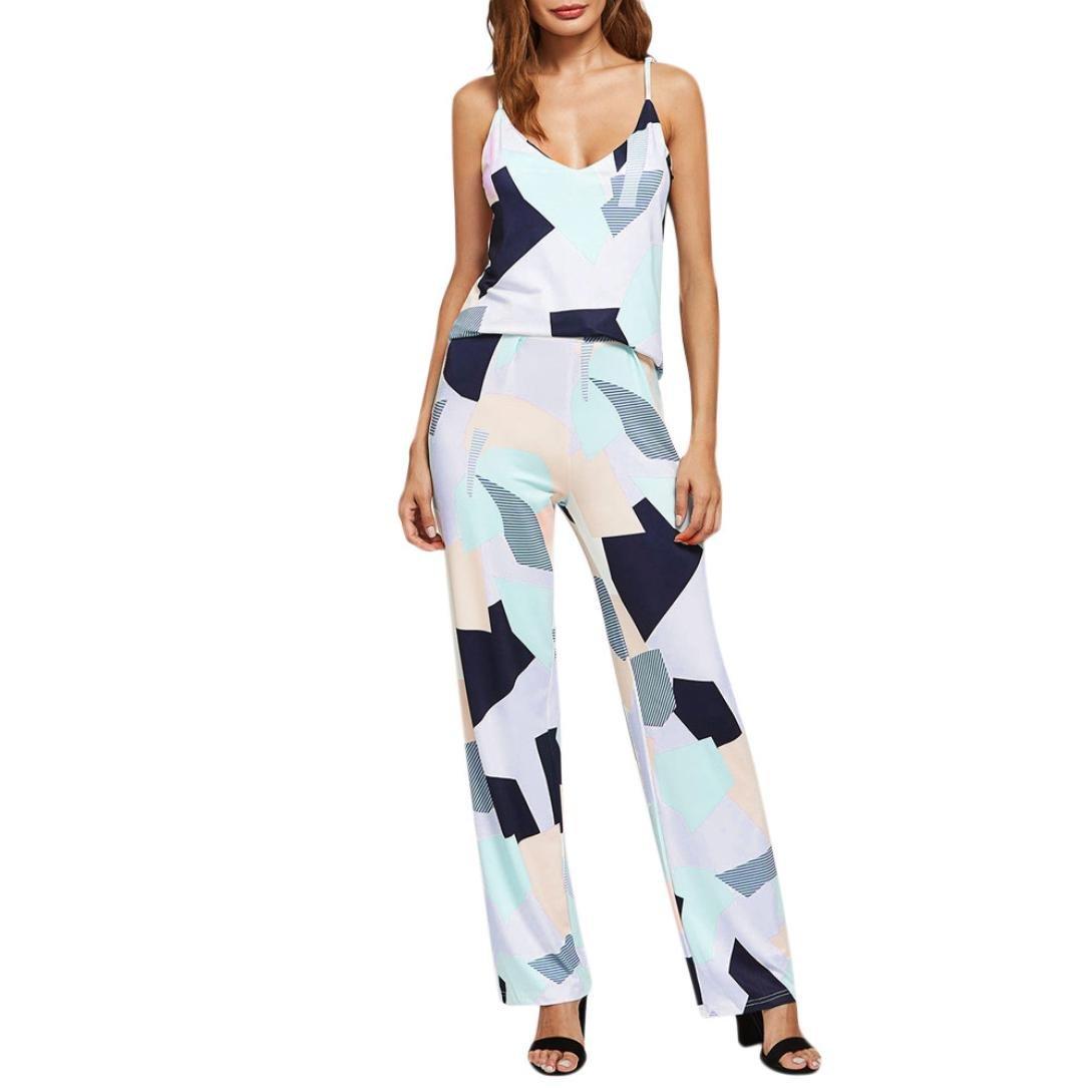 POCCIOL Women Love Jumpsuit, Fashion Women's Pocket Strappy V Neck Bodycon Party Clubwear Playsuit Jumpsuit (Colorful -Style 2, XL)