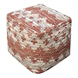 Aztec Pattern Rust Brown Beige Pouf | Ikat Tribal Cube Fabric Argyle Seat Square