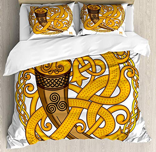 Camel Euro Comforter - Rune Duvet Cover Set Queen Size,Celtic And Scandinavian Design Of Drinking Horn And Woven Motif,Bedding Cover Set 100% Cotton Boys Girls For Children Teens,Earth Yellow Dark Brown And Camel