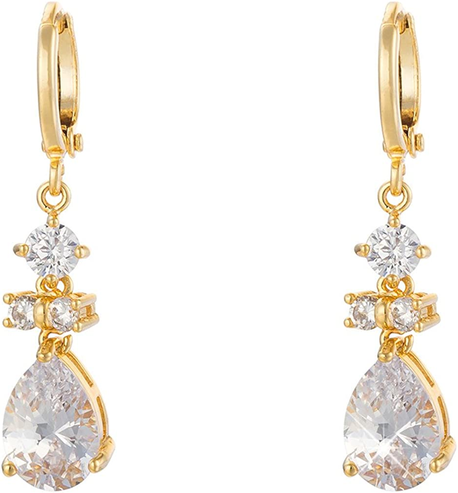YAZILIND Hoop Dangel Boucles dOreilles Id/ées cadeaux femme luxe 18K plaqu/é Or blanc Tear Goutte de cristal autrichienne