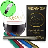 Wine Glass Markers Premium Erasable Pens Beautiful Metallic Colors 5pk Set. Great Alternative to Wine Charms Vite Dolce