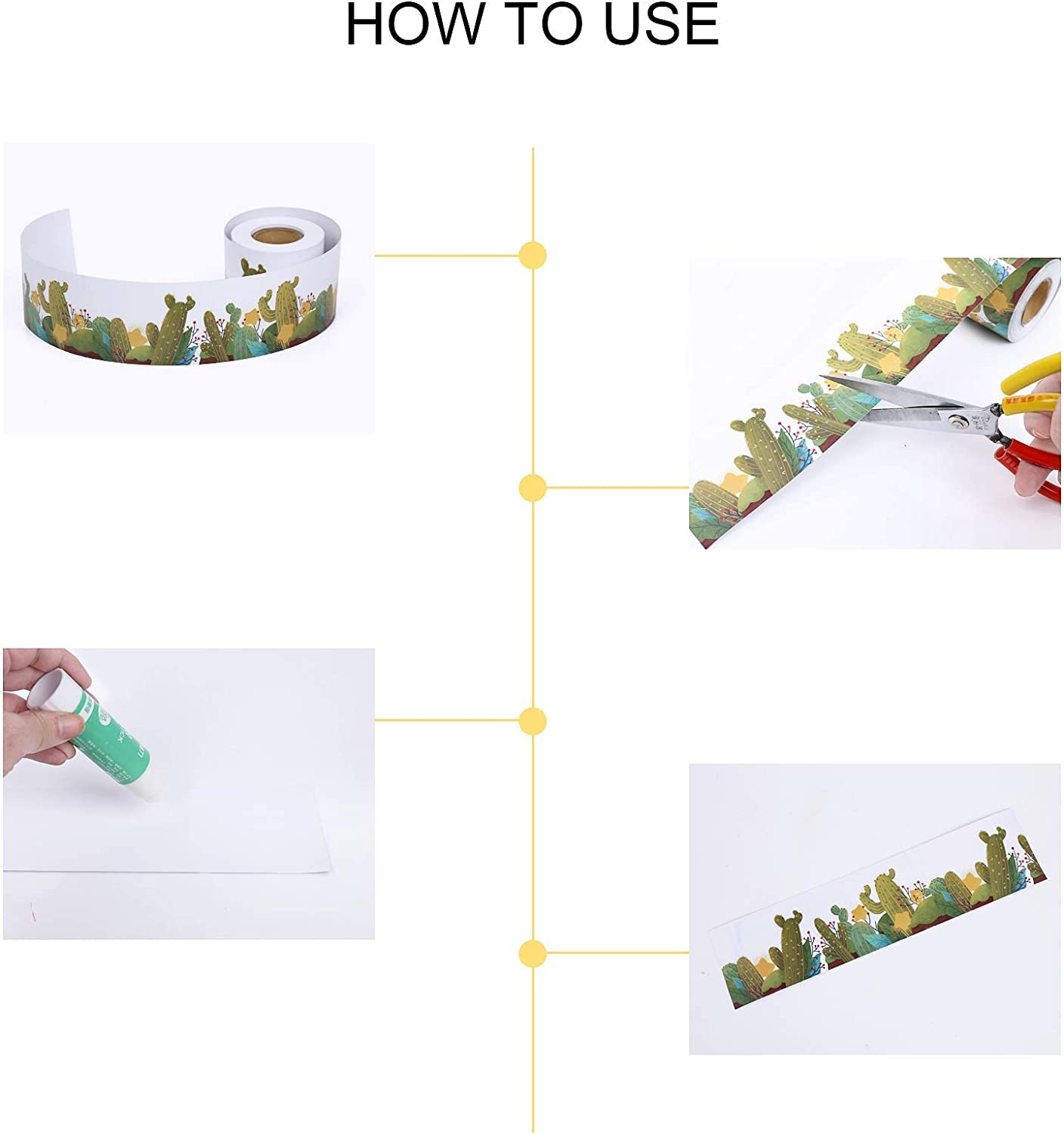 65.6 Feet Sisenny Removable Border Decoration Border Wall Decor Trim Black Board A Sharp Bunch Line-Up Borders Rolled Cactus Bulletin Borders for Classroom Decoration