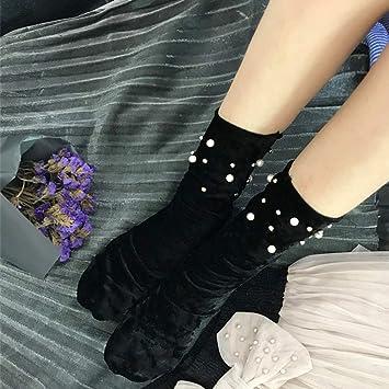 Ssowun Calcetines de Terciopelo Seda-Brillante Mujer otoño e Invierno Medias de Tubo de elástico