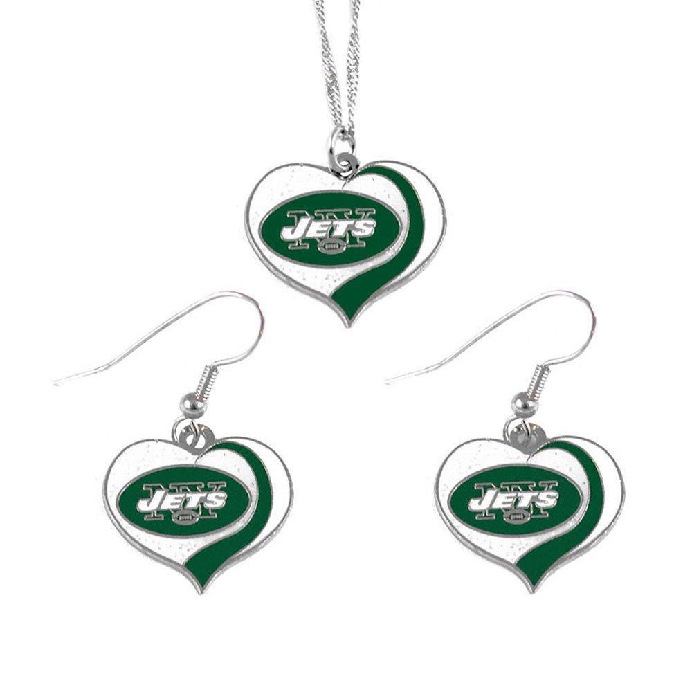 新しいYork Jetsスポーツチームロゴキラキラハートネックレスとイヤリングセット   B01NCE24WN