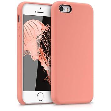 kwmobile Funda para Apple iPhone SE / 5 / 5S - Carcasa de [TPU] para teléfono móvil - Cover [Trasero] en [Coral]
