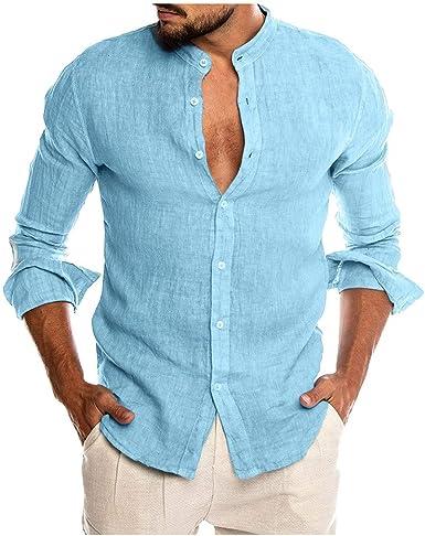 Sylar Camisas De Hombre Manga Larga Camisa Hombre Color Sólido con Cuello Mao Camisa De Vestir para Hombre Camiseta De Hombre con Botones Hombre Slim Fit Blusa Top: Amazon.es: Ropa y accesorios