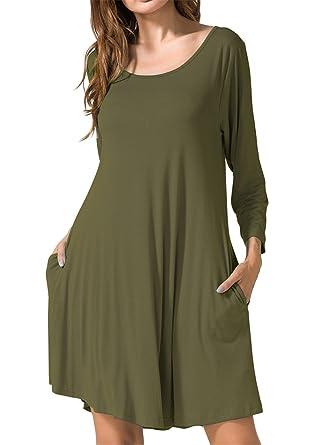 b732971bf8982 JollieLovin Women's Casual Swing 3/4 Sleeve Pockets T-Shirt Loose Dress  (Army