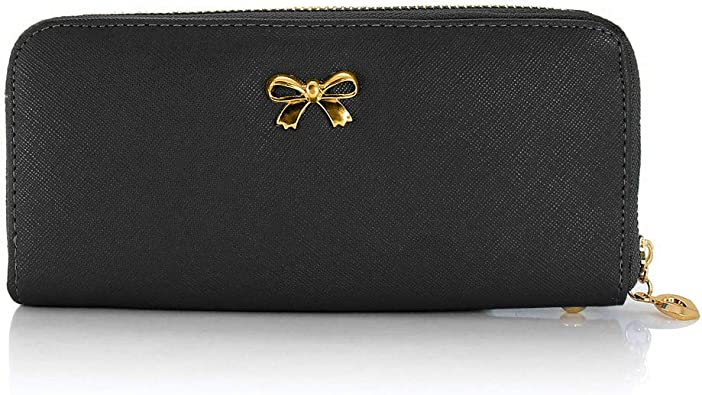 Womail Women Leather New Fashion Long Wallet Card Coin Holder Zipper Handbags Black
