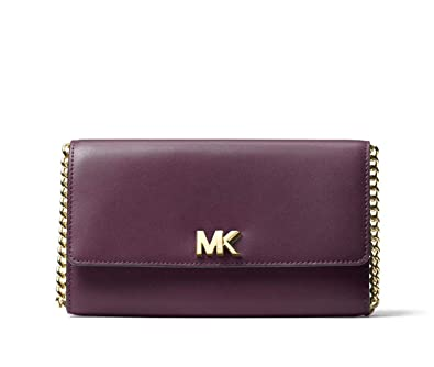 b47559e18ea6de Michael Kors Leather Mott XL Wallet Clutch Crossbody Bag in Damson: Handbags:  Amazon.com