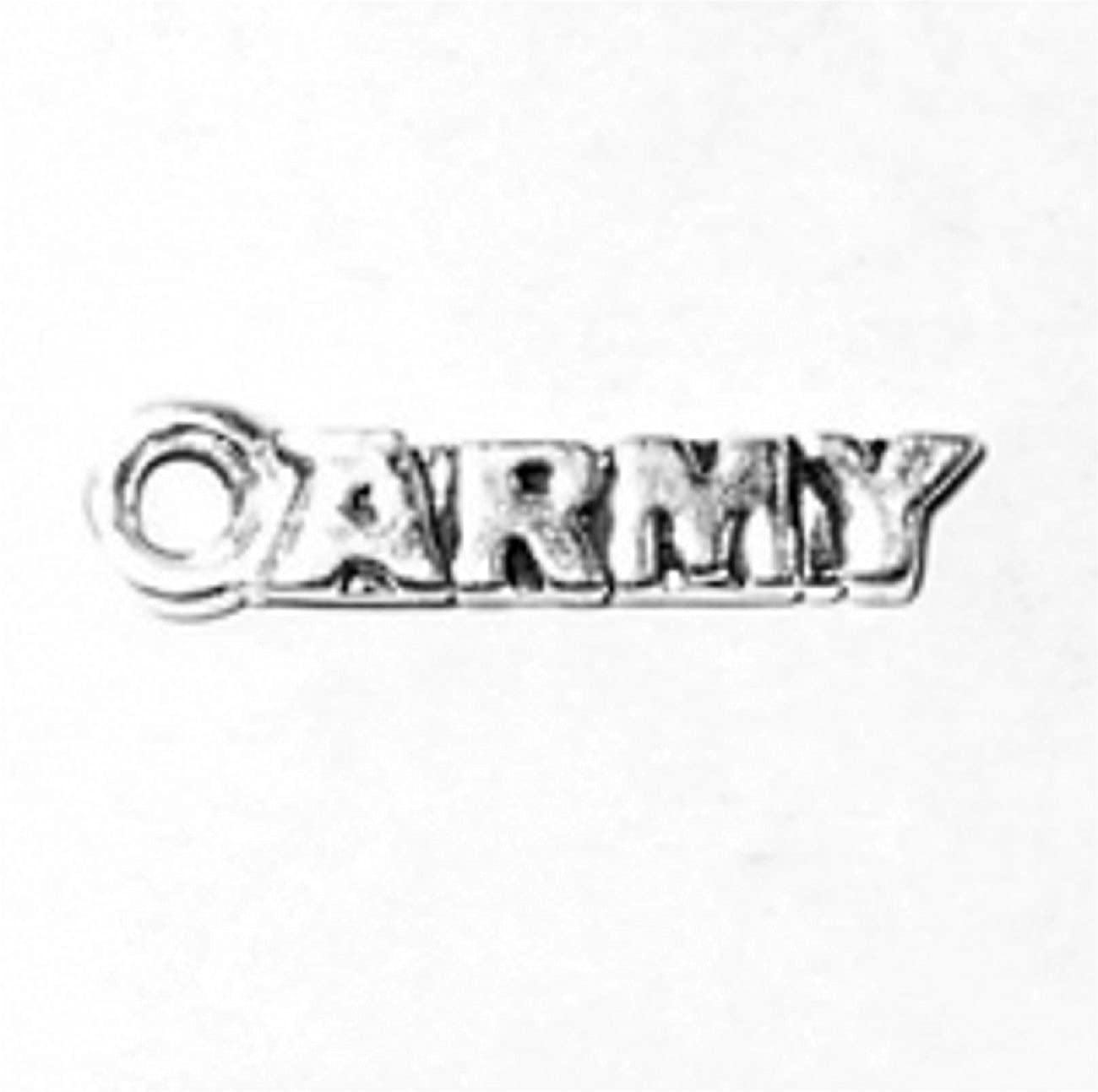 Sterling Silver 7 4.5mm Charm Bracelet With Attached Small Army Word Charm