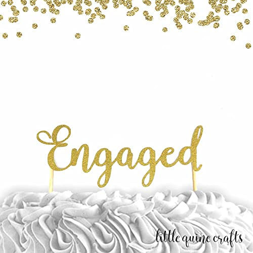1 pc engaged script fonts gold glitter wedding bridal shower bachelorette party engagement cake topper