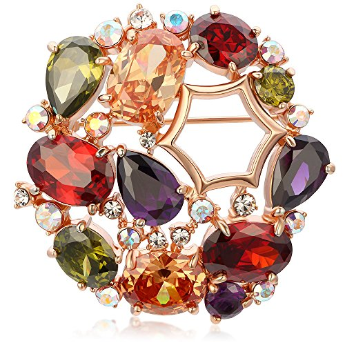 - Kemstone Rose Gold Colorful Cubic Zirconia Brooch Pin Jewelry