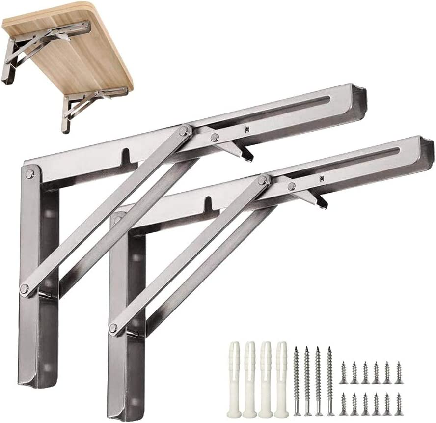 """2pcs Boat Foldable Bench Shelf Table Bracket Support Stainless Steel 8/"""""""