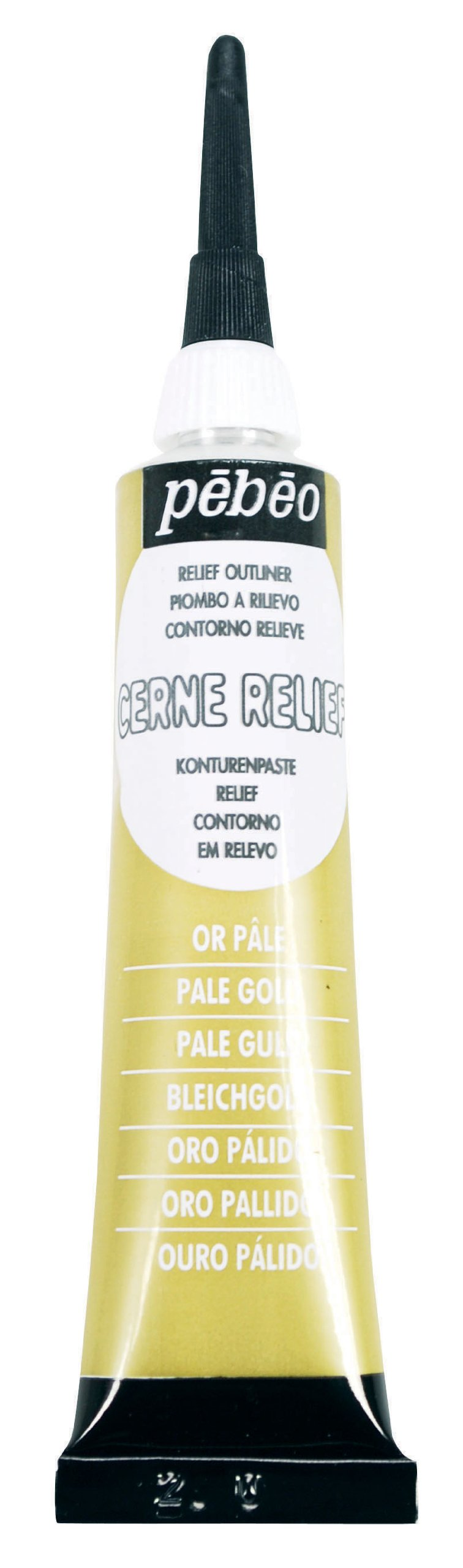 Pebeo Vitrail, Cerne Relief Dimensional Paint, 20 ml Tube with Nozzle - Pale Gold