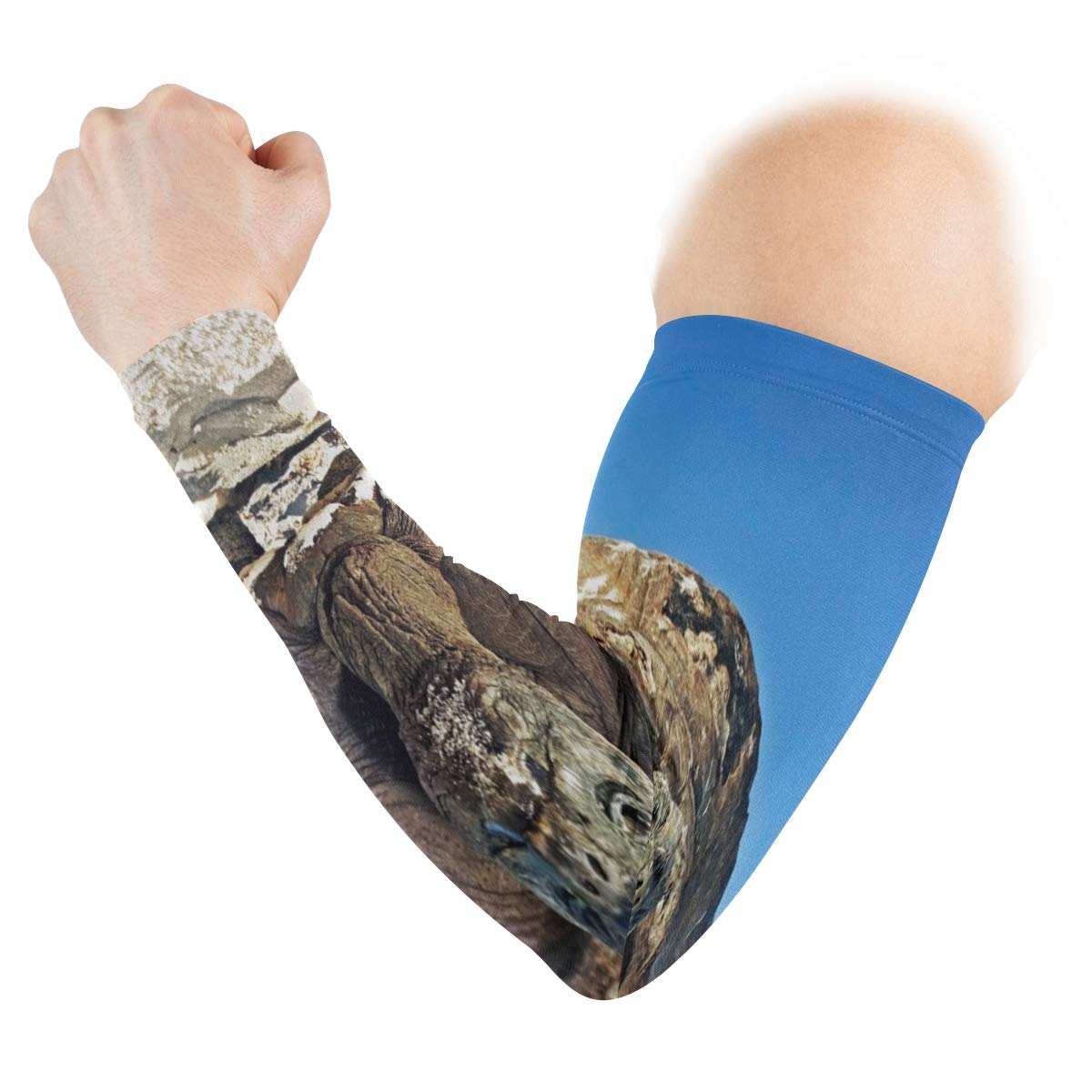 Arm Sleeves Huge Sea Turtle On The Beach Mens Sun UV Protection Sleeves Arm Warmers Cool Long Set Covers