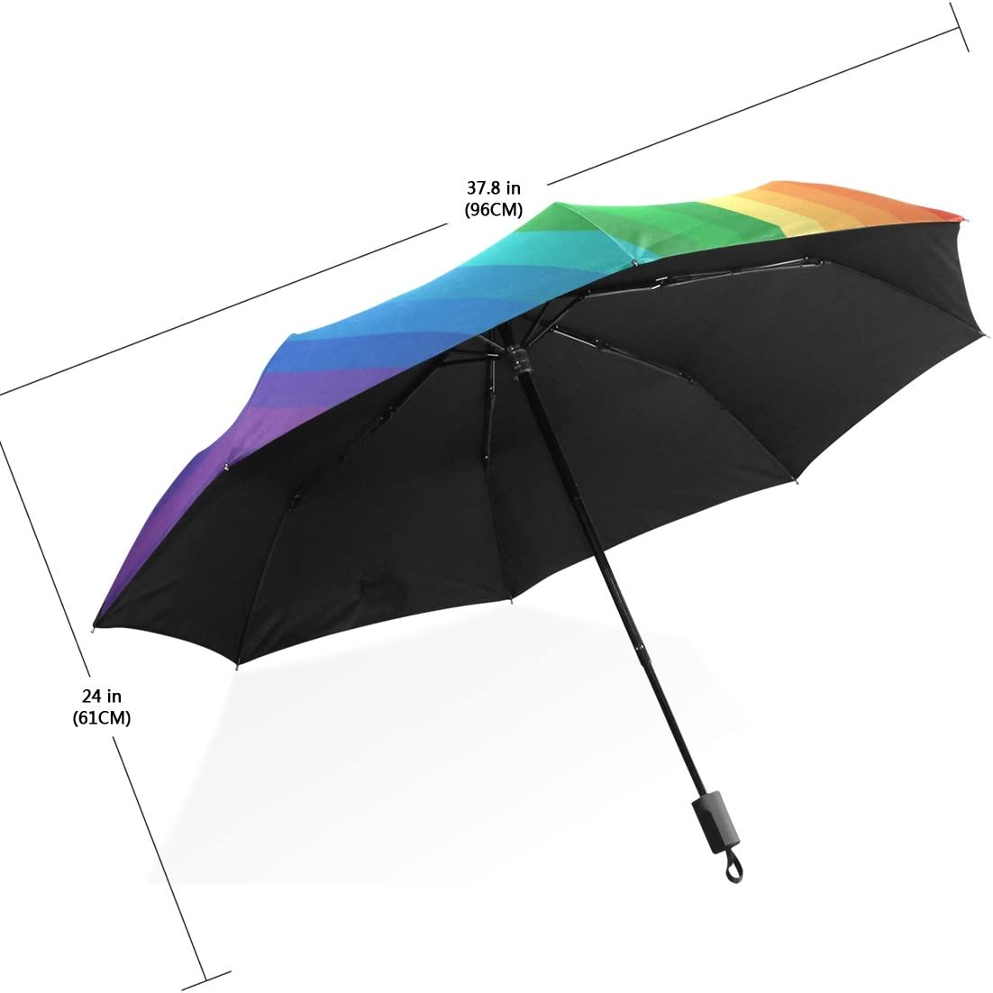 Cooper girl Hand-Drawn Fairy Tale Rainbow Wind Resistant Anti-UV Folding Travel Umbrella for Women and Girl