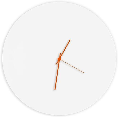 Minimalist White Clock Whiteout Orange Circle Clock Contemporary Metal Wall Clocks, Monochrome Modern Decor – 16in. White w Orange Hands