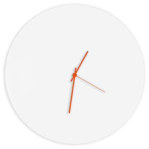 Minimalist White Clock Whiteout Orange Circle Clock Contemporary Metal Wall Clocks, Monochrome Modern Decor – 16in. White w Orange Hands
