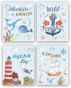 """Motivational Ocean Themed Art Print,Colorful Anchor Ship Inspirational & Saying Wall Art, Set Of 4 (8""""X10"""", Unframed) Watercolor Ocean Life Word Canvas Painting Poster For kids bedroom, playroom Decor"""