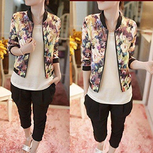 Amlaiworld Manches Bombardier Longues Floral Blouson Multicolore Stand Imprimé Veste Fermeture Collar De Manteau Femme HXxArwHq