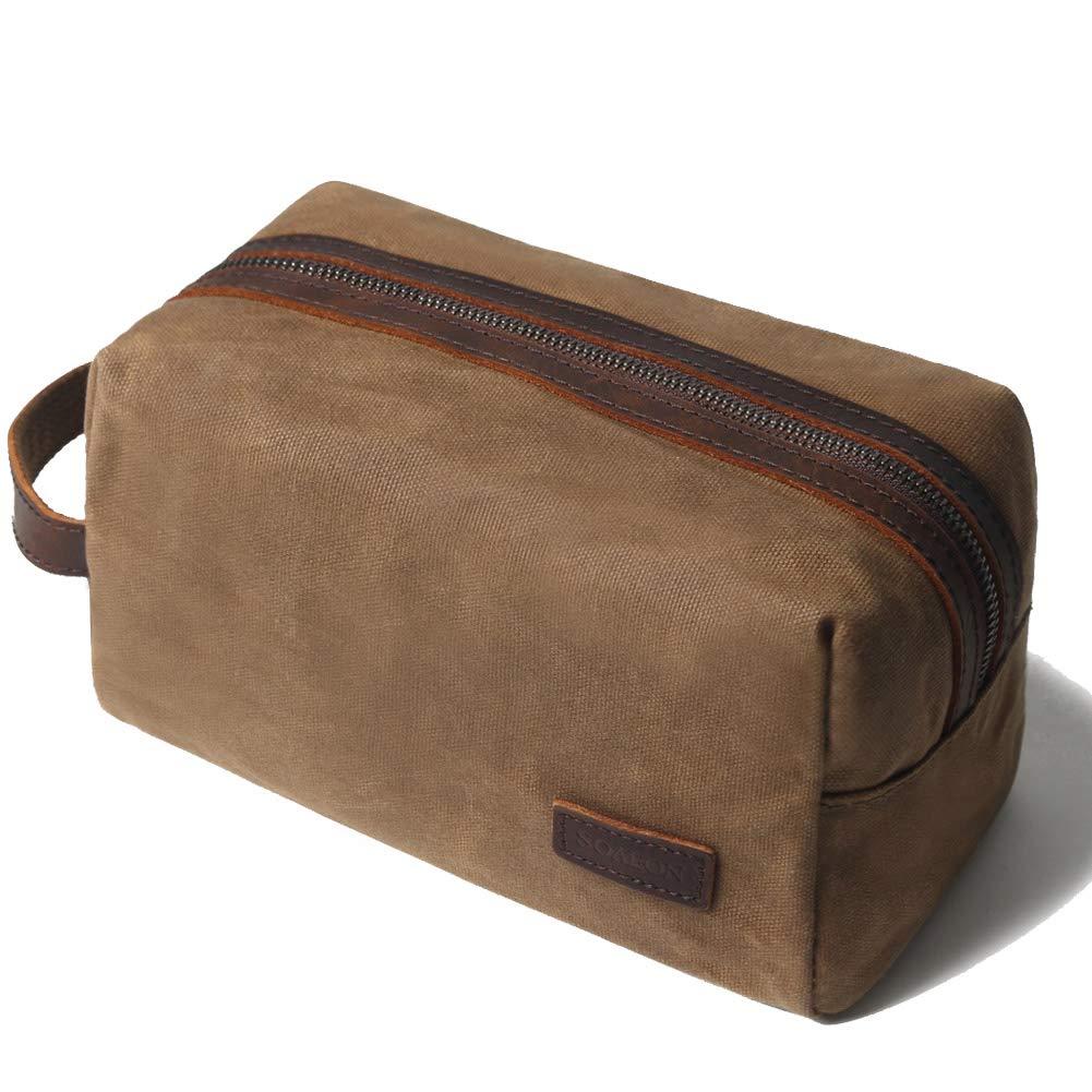 Shaving bag Dopp kit Leather Toiletry Bag for Men – Overnight bag Hanging Canvas Travel Size Toiletries