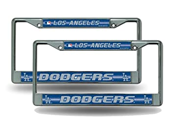 los angeles dodgers chrome metal 2 bling license plate frame set