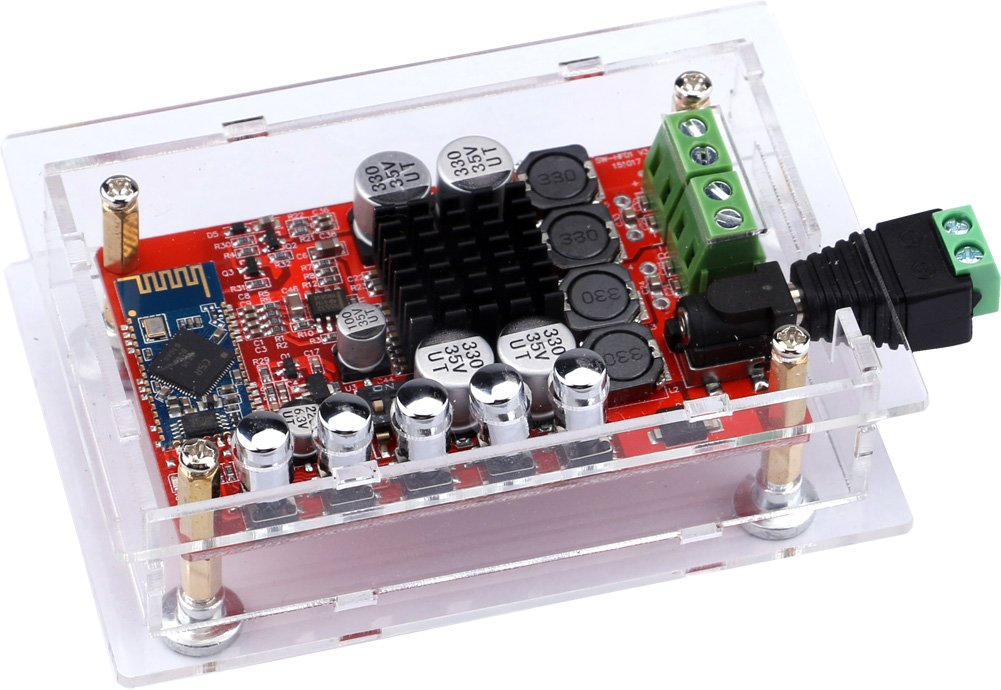 Audio Stereo Amplifier, Yeeco 50W+50W Hifi Mini Bluetooth Amplifier, Audio Receiver, Dual Channel Bluetooth Power Amplifiers Amp Ampli Board with Shell; Heatsink Chip & Free-welding Connector DC 8-20V