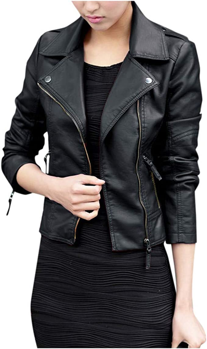FEICUI Women/'s Faux Leather Jacket Long Sleeve Moto Biker Outwear PU Short Coat